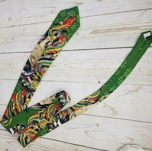 Ed Hardy Accessories - Ed Hardy all Silk green/ dragon necktie